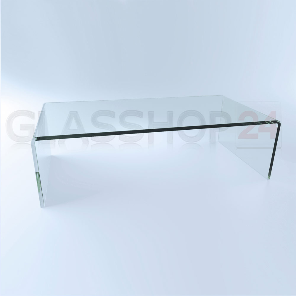 exklusiver design glas couchtisch echtglas tisch glastisch gebogen vollglas ebay. Black Bedroom Furniture Sets. Home Design Ideas