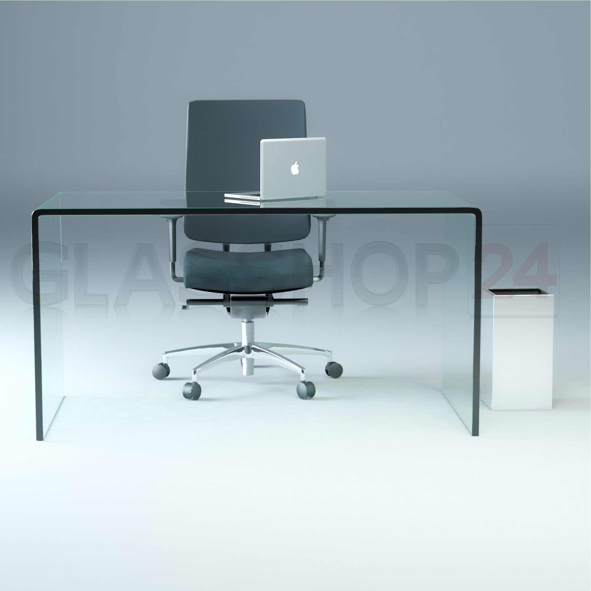 design glas schreibtisch 15mm echtglas b t h 140x70x73cm glas tisch ebay. Black Bedroom Furniture Sets. Home Design Ideas