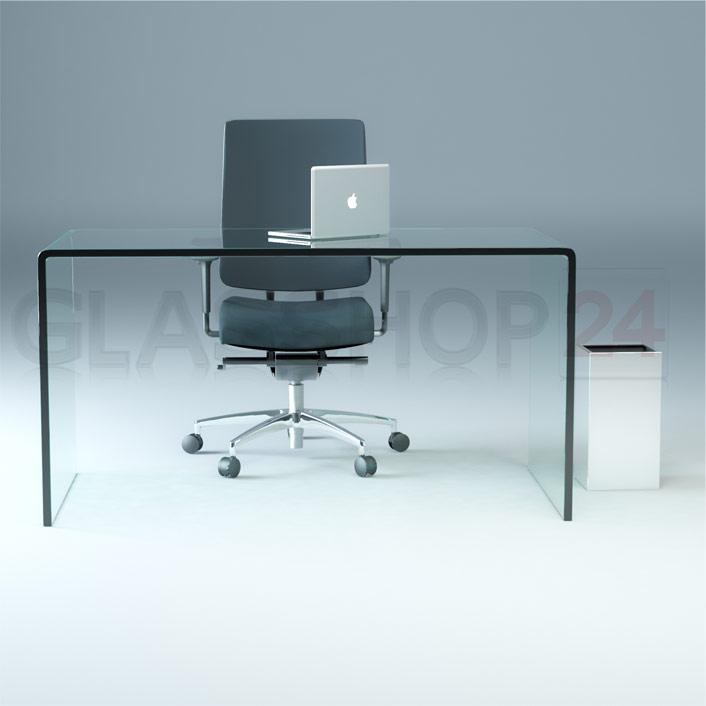 design schreibtisch aus 15mm echtglas b t h 1400x700x730mm. Black Bedroom Furniture Sets. Home Design Ideas